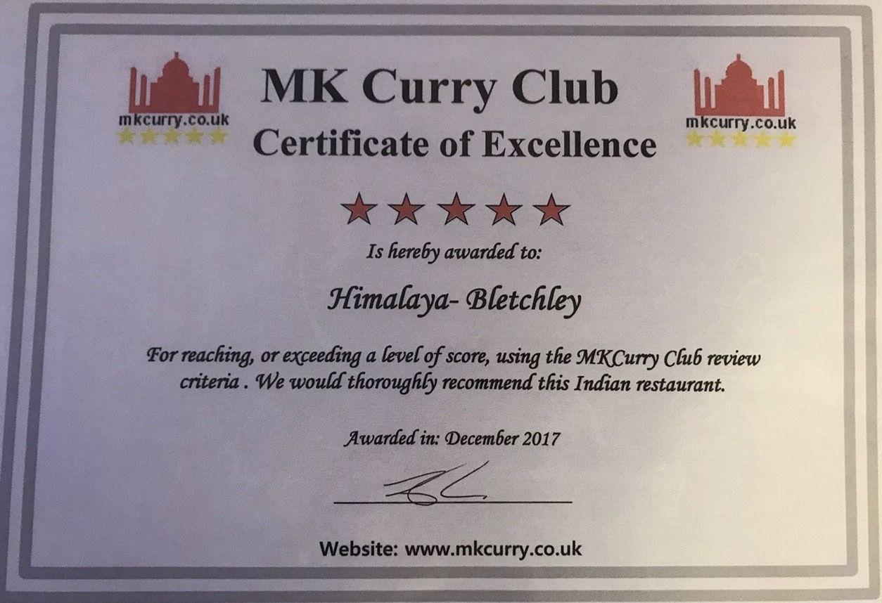 Himalaya Restaurant Milton Keynes Menu